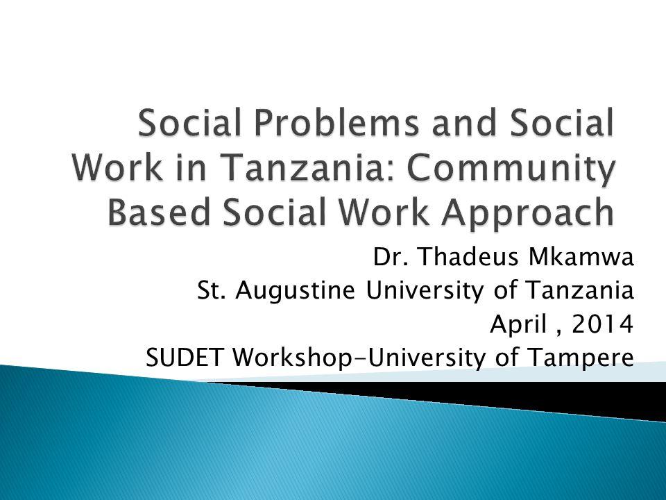 Dr. Thadeus Mkamwa St. Augustine University of Tanzania April, 2014 SUDET Workshop-University of Tampere