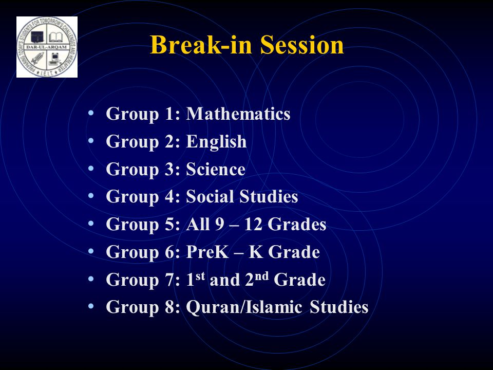 Break-in Session • Group 1: Mathematics • Group 2: English • Group 3: Science • Group 4: Social Studies • Group 5: All 9 – 12 Grades • Group 6: PreK – K Grade • Group 7: 1 st and 2 nd Grade • Group 8: Quran/Islamic Studies