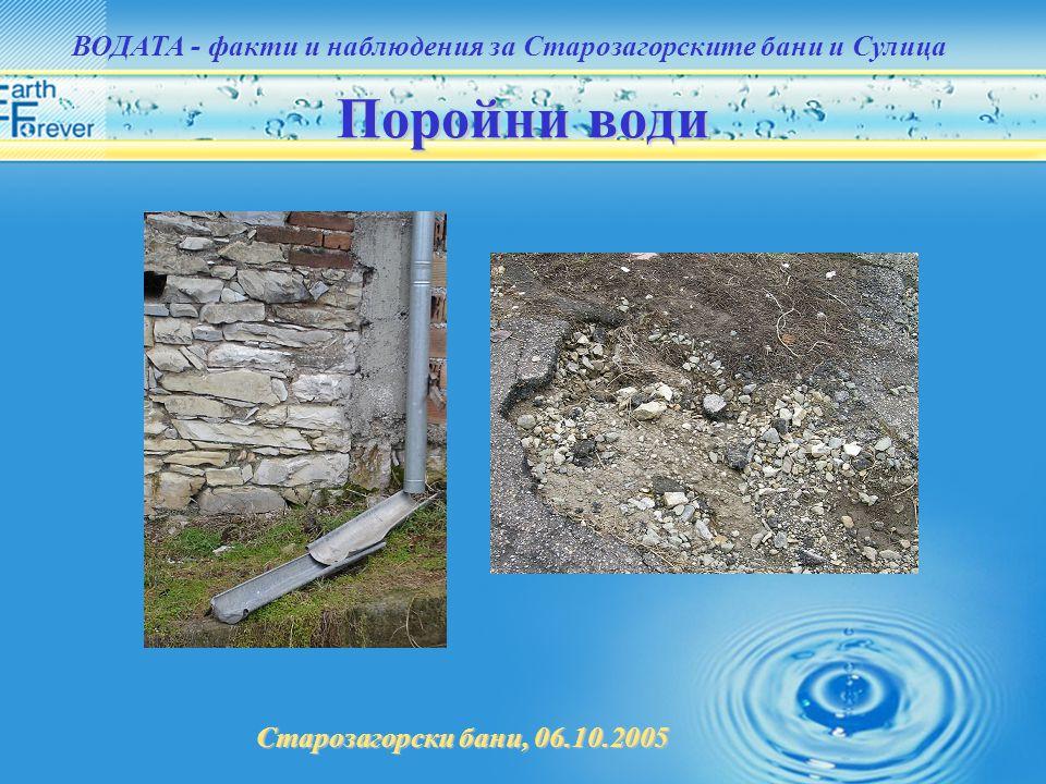 Старозагорски бани, 06.10.2005 ВОДАТА - факти и наблюдения за Старозагорските бани и Сулица Поройни води