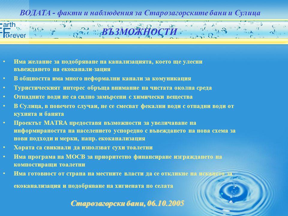 Старозагорски бани, 06.10.2005 ВОДАТА - факти и наблюдения за Старозагорските бани и Сулица •Има желание за подобряване на канализацията, което ще уле