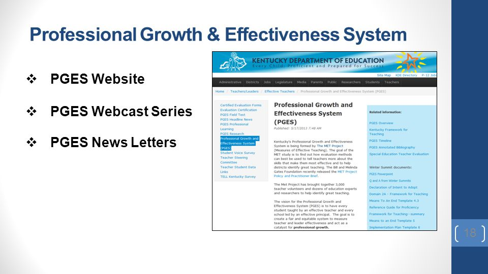 Professional Growth & Effectiveness System 18  PGES Website  PGES Webcast Series  PGES News Letters