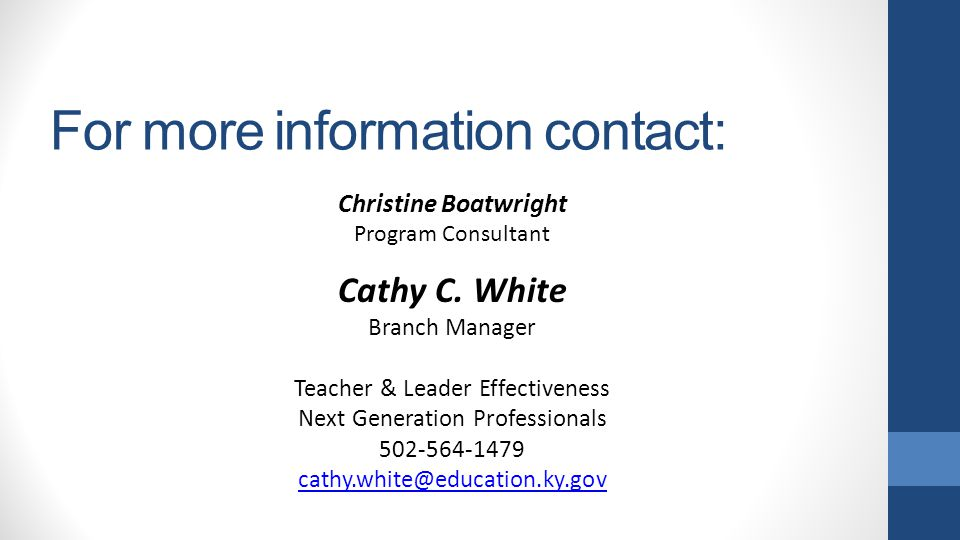 For more information contact: Cathy C.