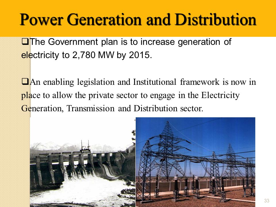  The Government plan is to increase generation of electricity to 2,780 MW by 2015.