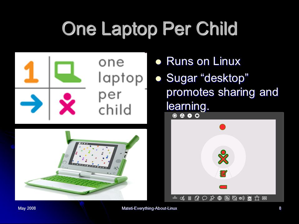 May 2008Mateti-Everything-About-Linux8 One Laptop Per Child  Runs on Linux  Sugar desktop promotes sharing and learning.