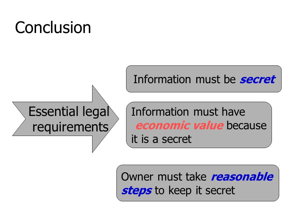 Conclusion Essential legal requirements Information must be secret Information must have economic value because it is a secret Owner must take reasonable steps to keep it secret