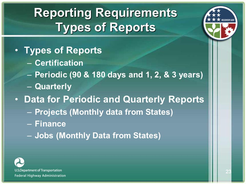 23 Reporting Requirements Types of Reports •Types of Reports –Certification –Periodic (90 & 180 days and 1, 2, & 3 years) –Quarterly •Data for Periodic and Quarterly Reports –Projects (Monthly data from States) –Finance –Jobs (Monthly Data from States)