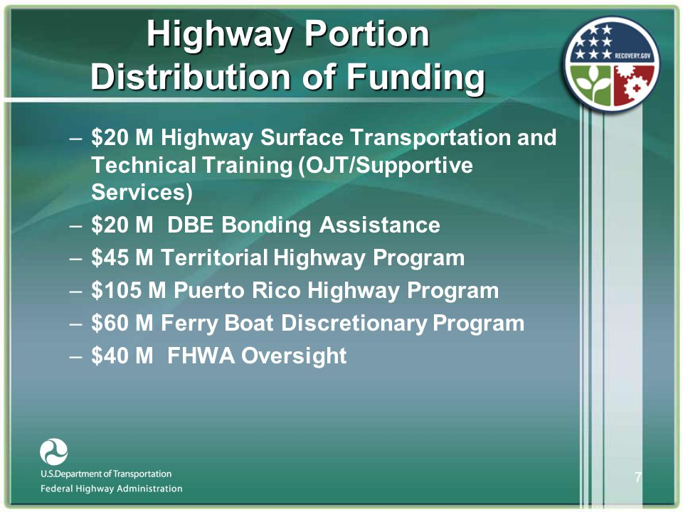 8 Funds Apportioned To States •$26.6 billion total apportionment to States •Formula based on 50/50 combination of –Surface Transportation Program in 23 USC 104(b) –Same ratio as the obligation limitation distribution for FY 2008