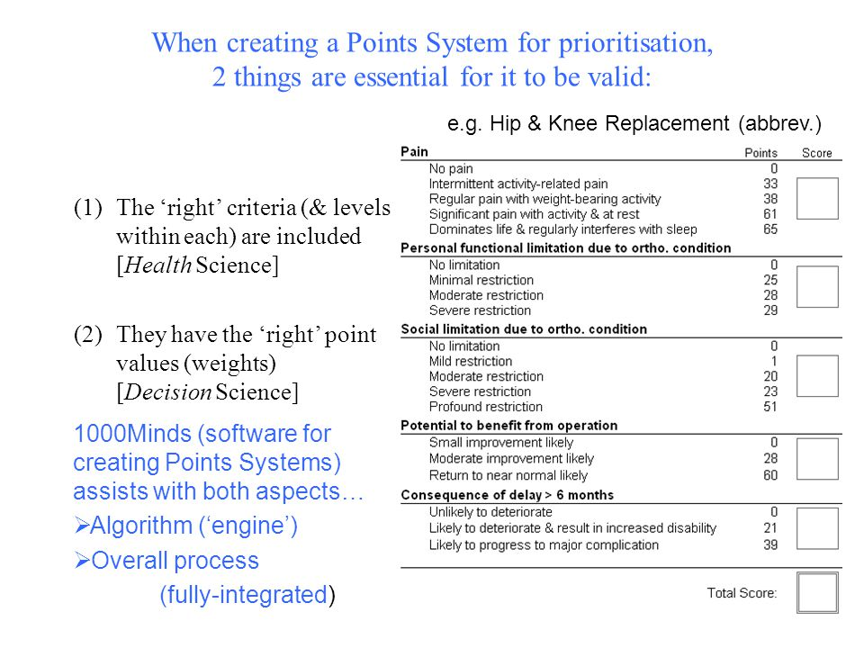 When creating a Points System for prioritisation, 2 things are essential for it to be valid: (1)The 'right' criteria (& levels within each) are included [Health Science] (2)They have the 'right' point values (weights) [Decision Science] e.g.