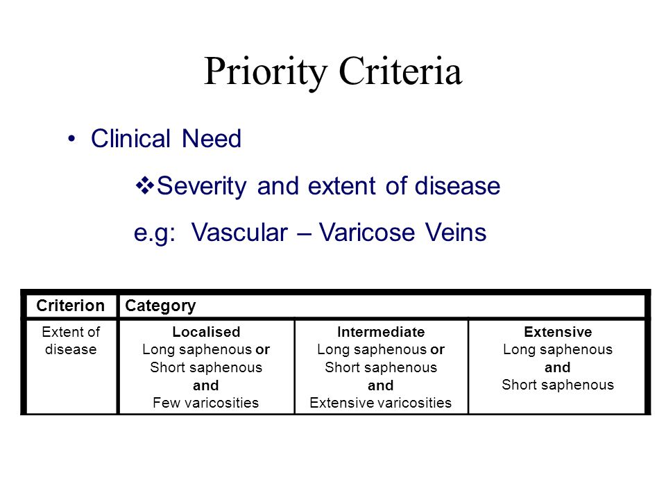 Priority Criteria • Clinical Need  Severity and extent of disease e.g: Vascular – Varicose Veins CriterionCategory Extent of disease Localised Long saphenous or Short saphenous and Few varicosities Intermediate Long saphenous or Short saphenous and Extensive varicosities Extensive Long saphenous and Short saphenous