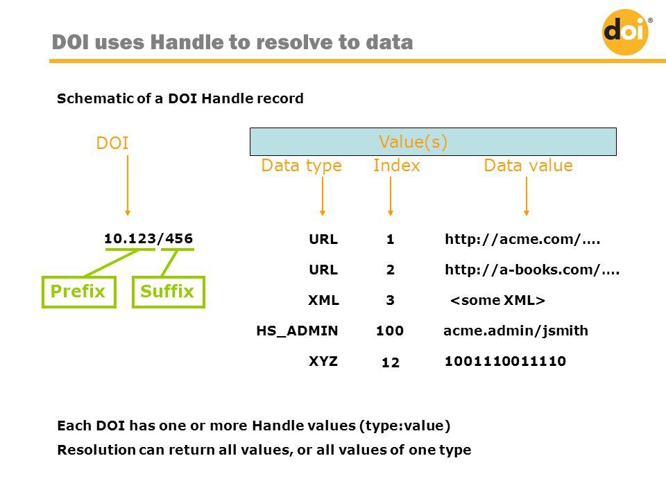 URL2http://a-books.com/…. XML 3 HS_ADMIN100acme.admin/jsmith XYZ 1001110011110 12 Data value DOI Data type Index 10.123/456URL1http://acme.com/…. Each