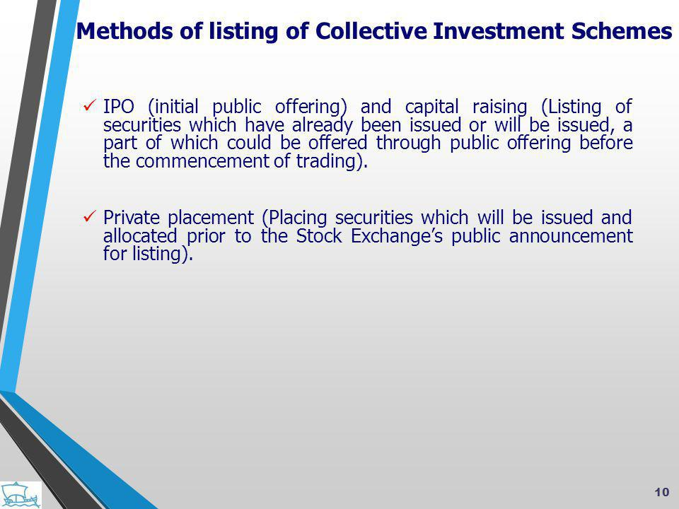  IPO (initial public offering) and capital raising (Listing of securities which have already been issued or will be issued, a part of which could be offered through public offering before the commencement of trading).
