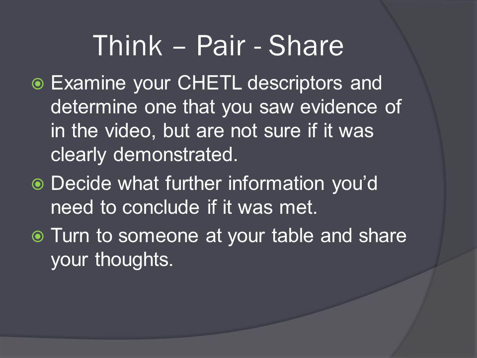 Think – Pair - Share  Examine your CHETL descriptors and determine one that you saw evidence of in the video, but are not sure if it was clearly demonstrated.