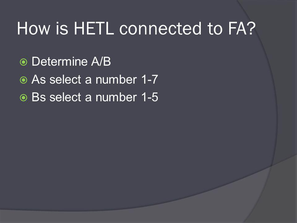 How is HETL connected to FA  Determine A/B  As select a number 1-7  Bs select a number 1-5