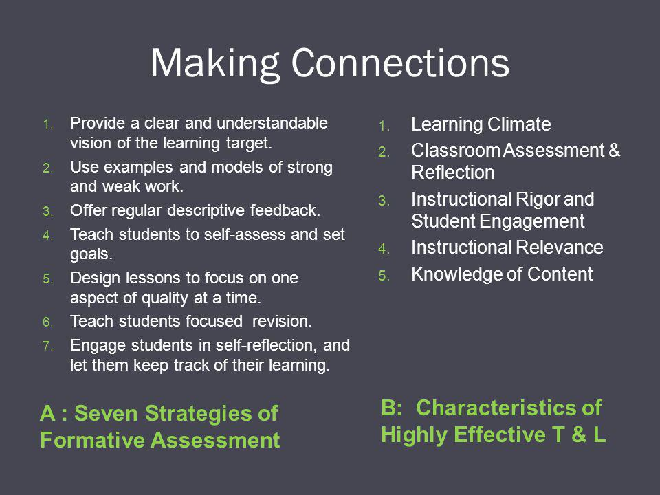 Making Connections A : Seven Strategies of Formative Assessment B: Characteristics of Highly Effective T & L 1.