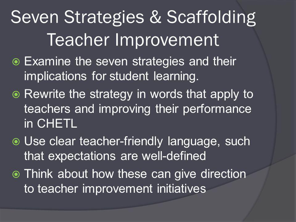 Seven Strategies & Scaffolding Teacher Improvement  Examine the seven strategies and their implications for student learning.