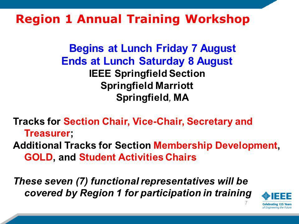8 IEEE Region 1 Women in Engineering Professional Development Seminar 25-27 September 2009, NYC IEEE Student Professional Awareness Workshop.