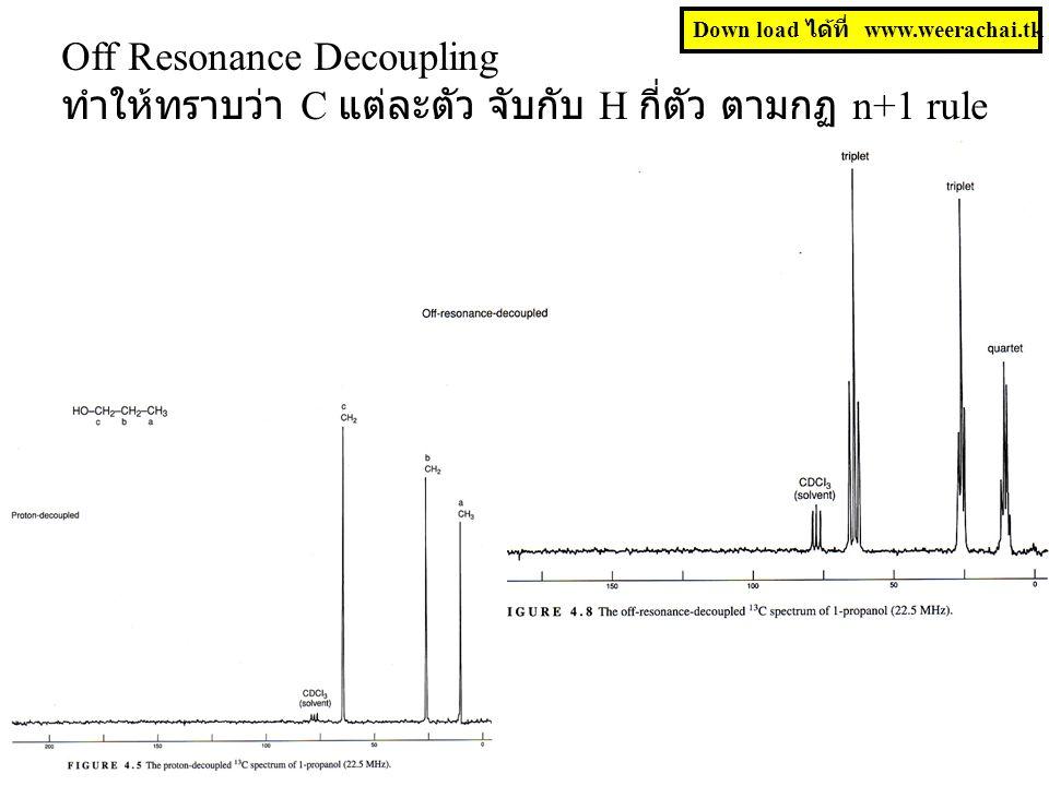 Off Resonance Decoupling ทำให้ทราบว่า C แต่ละตัว จับกับ H กี่ตัว ตามกฏ n+1 rule Down load ได้ที่ www.weerachai.tk