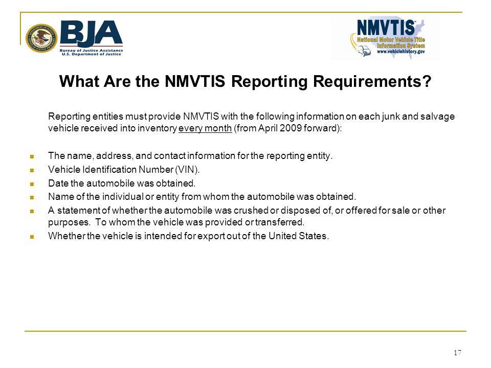 What Are the NMVTIS Reporting Requirements.