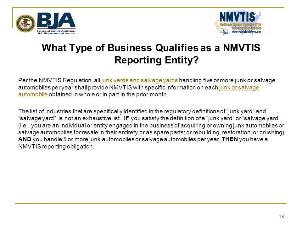 What Type of Business Qualifies as a NMVTIS Reporting Entity.
