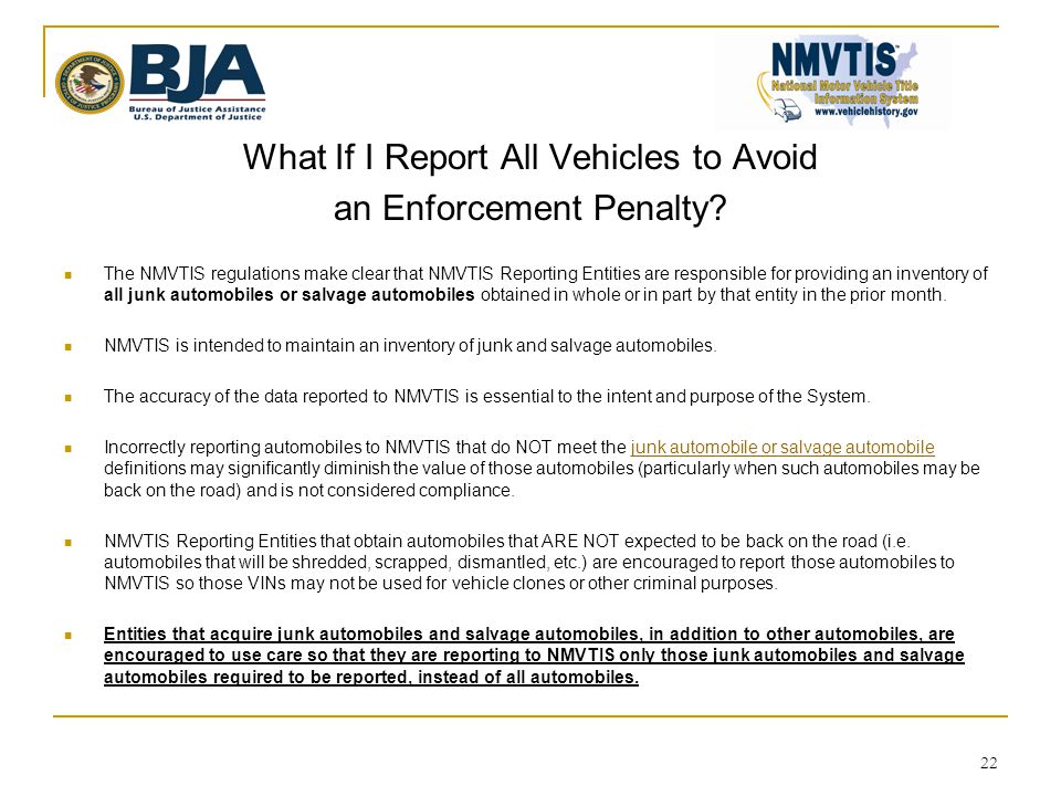 What If I Report All Vehicles to Avoid an Enforcement Penalty.