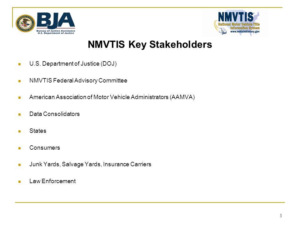 NMVTIS Key Stakeholders  U.S. Department of Justice (DOJ)  NMVTIS Federal Advisory Committee  American Association of Motor Vehicle Administrators