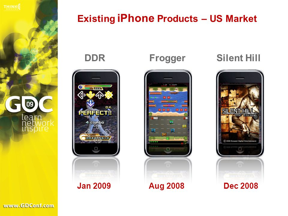 Existing iPhone Products – US Market Jan 2009Aug 2008Dec 2008 DDRFroggerSilent Hill
