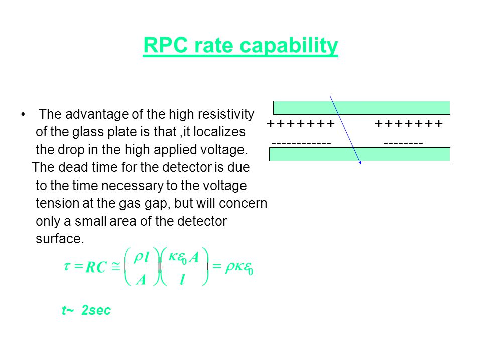 RPC rate capability •The advantage of the high resistivity of the glass plate is that,it localizes the drop in the high applied voltage. The dead time