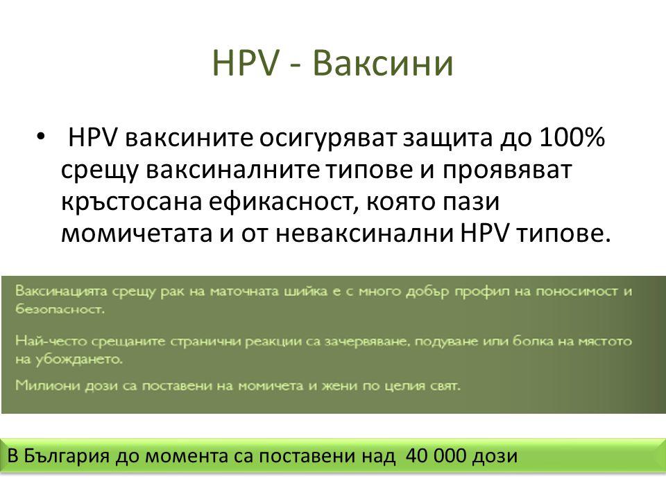 HPV - Ваксини • HPV ваксините осигуряват защита до 100% срещу ваксиналните типове и проявяват кръстосана ефикасност, която пази момичетата и от неваксинални HPV типове.