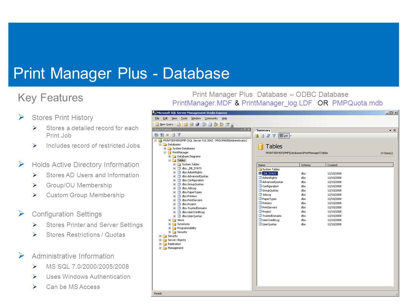 18 Print Manager Plus - Database Print Manager Plus Database – ODBC Database PrintManager.MDF & PrintManager_log.LDF OR PMPQuota.mdb 18 Key Features  Stores Print History  Stores a detailed record for each Print Job  Includes record of restricted Jobs  Holds Active Directory Information  Stores AD Users and Information  Group/OU Membership  Custom Group Membership  Configuration Settings  Stores Printer and Server Settings  Stores Restrictions / Quotas  Administrative Information  MS SQL 7.0/2000/2005/2008  Uses Windows Authentication  Can be MS Access