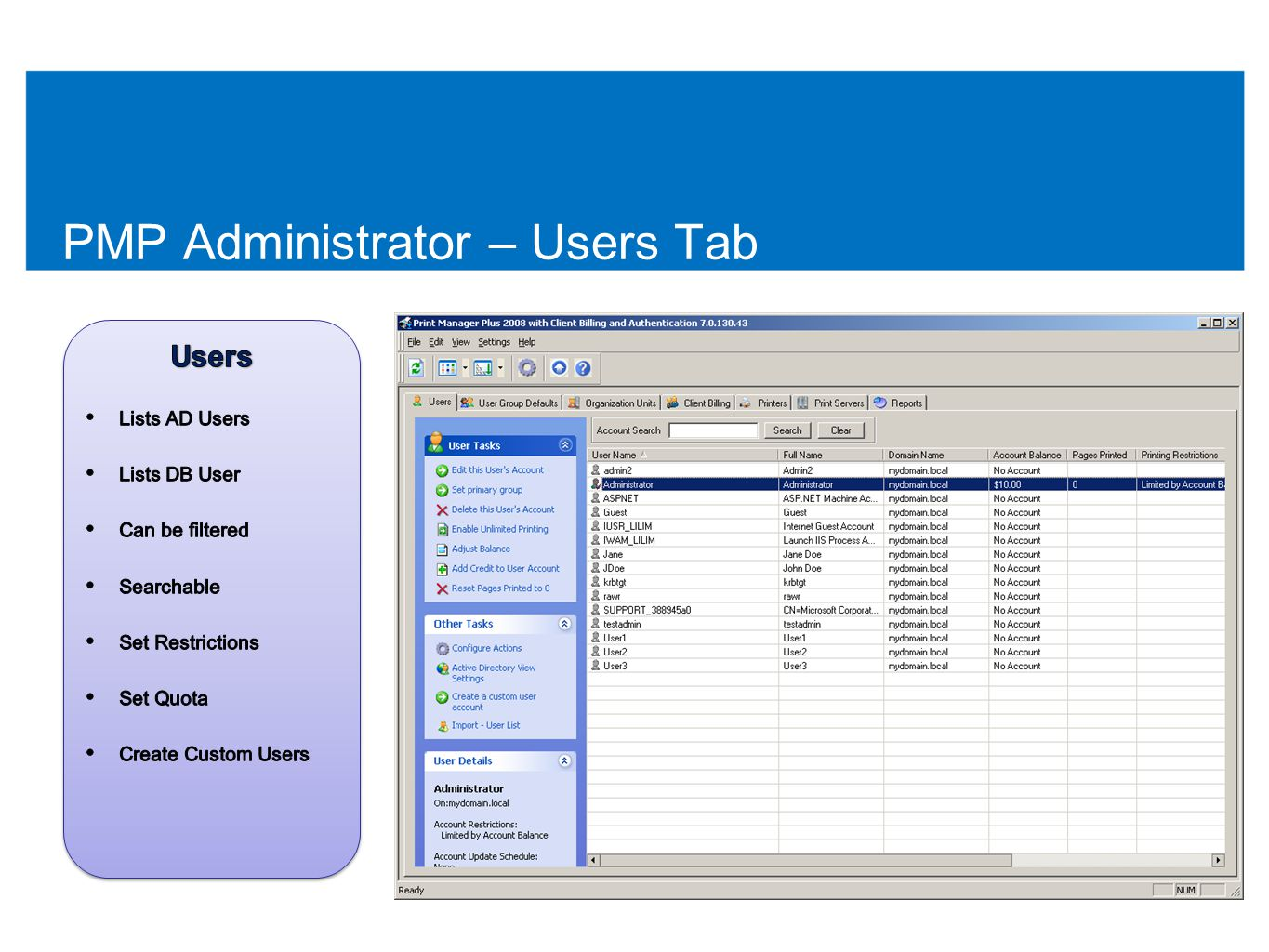 PMP Administrator – Users Tab 47