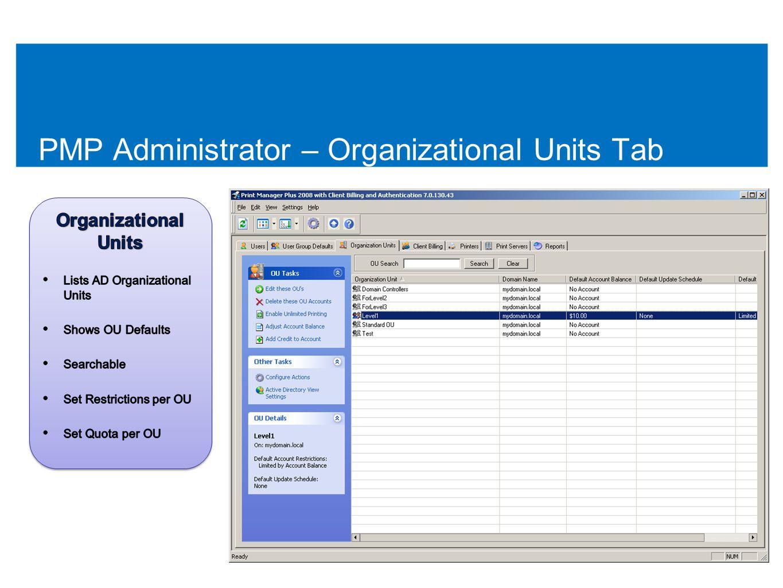PMP Administrator – Organizational Units Tab 49