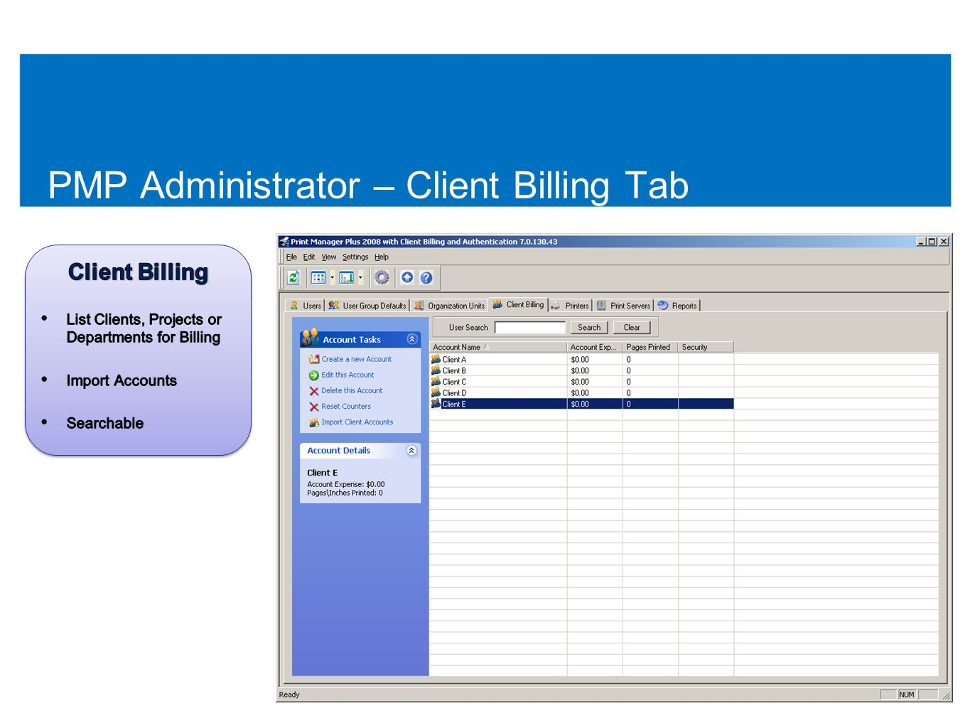 PMP Administrator – Client Billing Tab 50