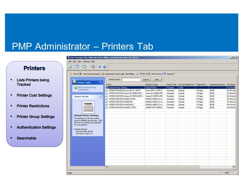 PMP Administrator – Printers Tab 51