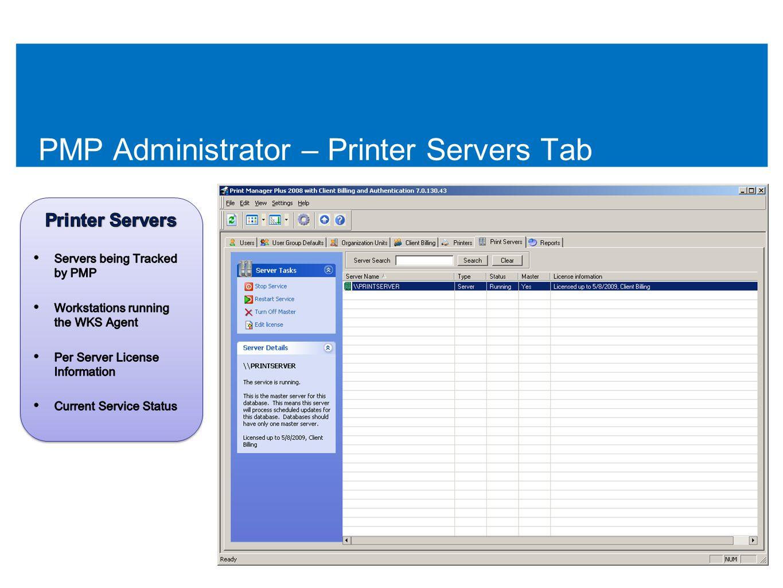 PMP Administrator – Printer Servers Tab 52