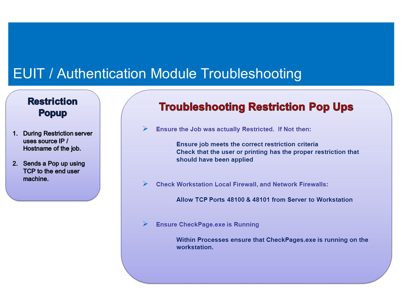 74 EUIT / Authentication Module Troubleshooting 74
