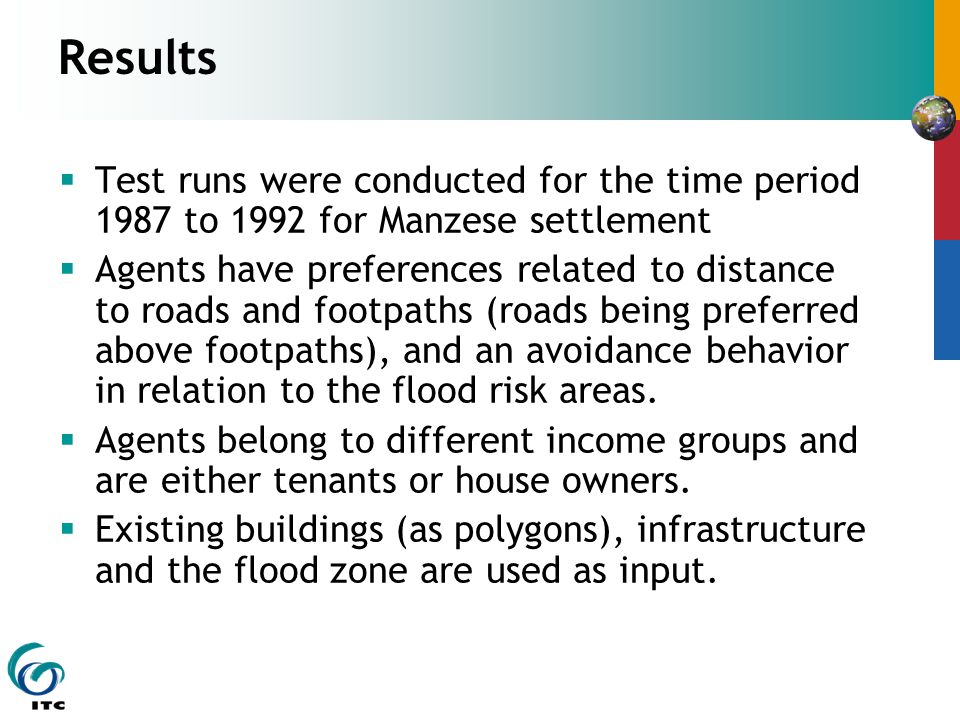 Results  Test runs were conducted for the time period 1987 to 1992 for Manzese settlement  Agents have preferences related to distance to roads and footpaths (roads being preferred above footpaths), and an avoidance behavior in relation to the flood risk areas.