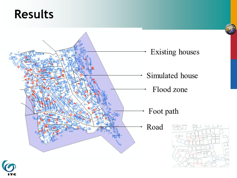 Results Flood zone Existing houses Foot path Road Simulated house
