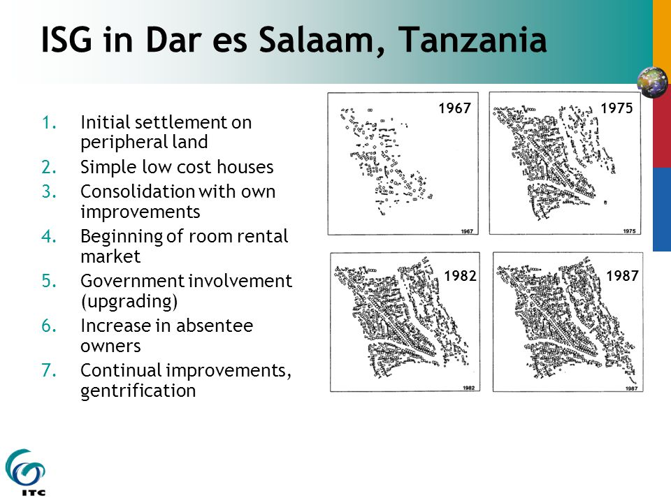 ISG in Dar es Salaam, Tanzania 1.Initial settlement on peripheral land 2.Simple low cost houses 3.Consolidation with own improvements 4.Beginning of room rental market 5.Government involvement (upgrading) 6.Increase in absentee owners 7.Continual improvements, gentrification 19671975 19871982