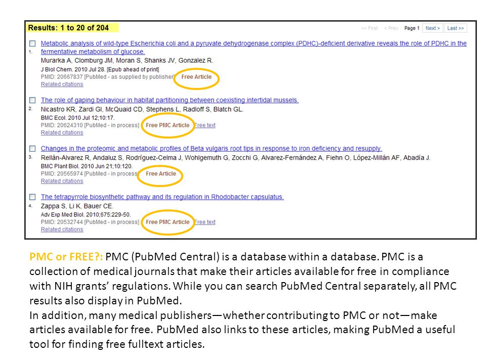 PMC or FREE?: PMC (PubMed Central) is a database within a database. PMC is a collection of medical journals that make their articles available for fre