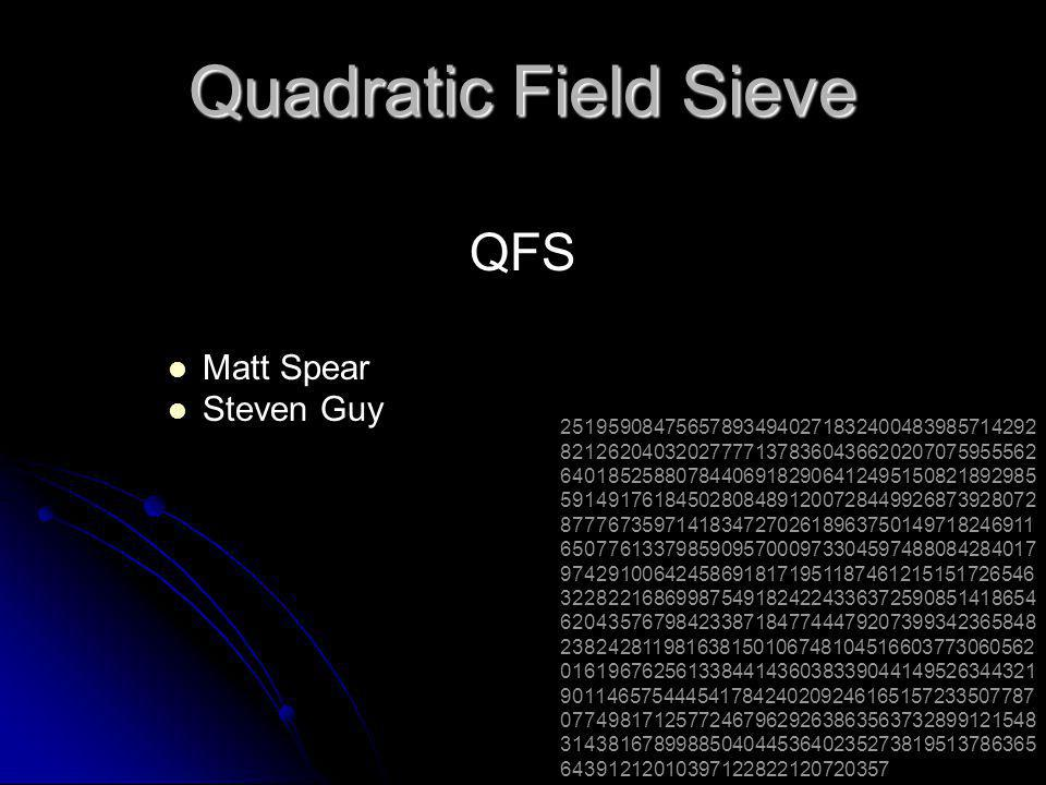 QFS  Quadratic Field Sieve  A fast method for factoring large numbers less than 110-digits long.