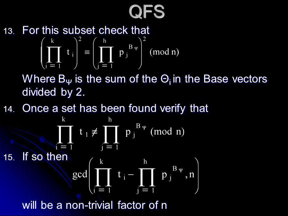 QFS 13. For this subset check that Where B Ψ is the sum of the Θ i in the Base vectors divided by 2. 14. Once a set has been found verify that 15. If
