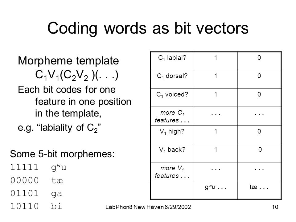 LabPhon8 New Haven 6/29/ Coding words as bit vectors Morpheme template C 1 V 1 (C 2 V 2 )(...) Each bit codes for one feature in one position in the template, e.g.