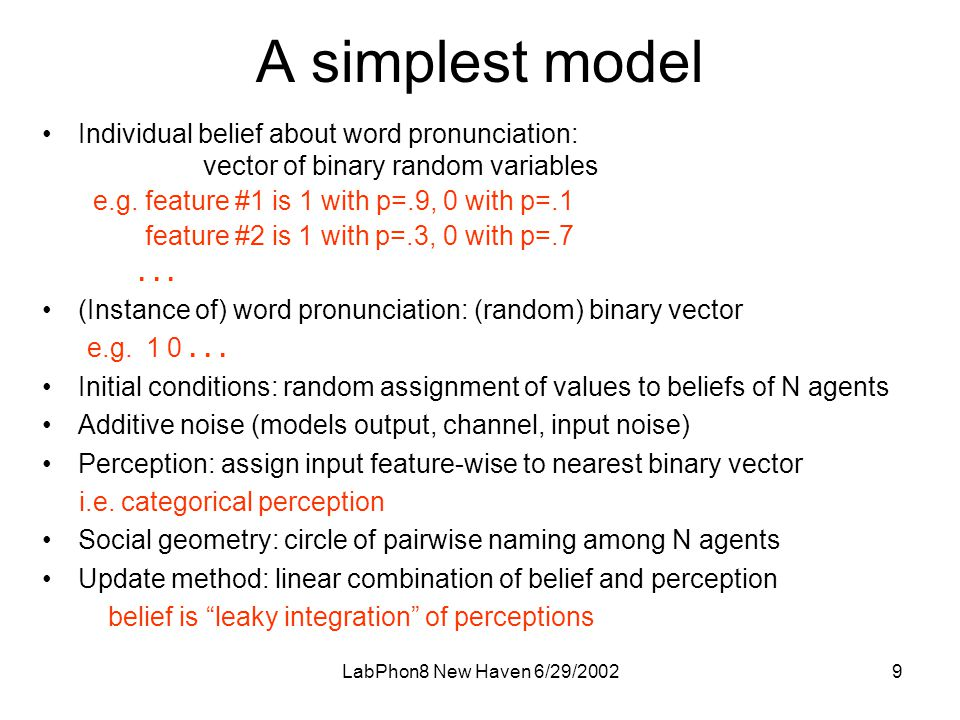 LabPhon8 New Haven 6/29/20029 A simplest model •Individual belief about word pronunciation: vector of binary random variables e.g.