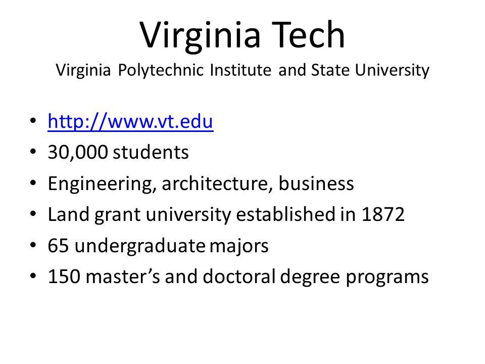 Virginia Tech Virginia Polytechnic Institute and State University • http://www.vt.edu http://www.vt.edu • 30,000 students • Engineering, architecture,