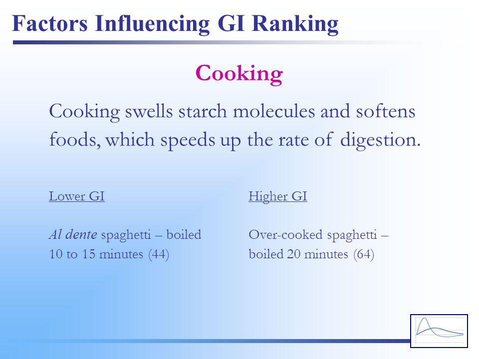 Factors Influencing GI Ranking Cooking Cooking swells starch molecules and softens foods, which speeds up the rate of digestion. Lower GI Al dente spa