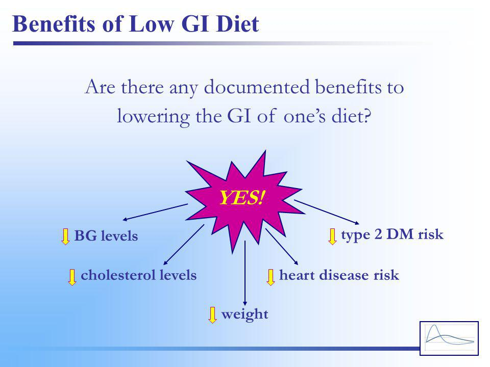 Benefits of Low GI Diet Are there any documented benefits to lowering the GI of one's diet? YES! BG levels cholesterol levels weight heart disease ris