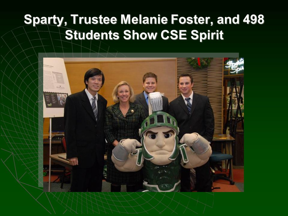 Sparty, Trustee Melanie Foster, and 498 Students Show CSE Spirit