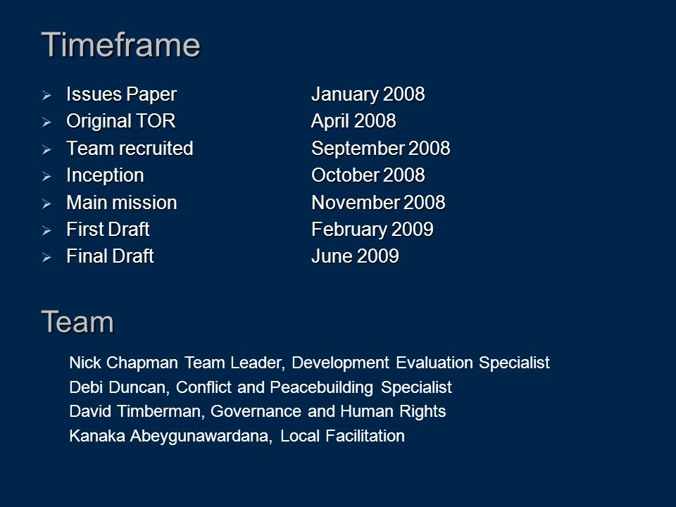 Timeframe  Issues Paper January 2008  Original TOR April 2008  Team recruited September 2008  Inception October 2008  Main mission November 2008