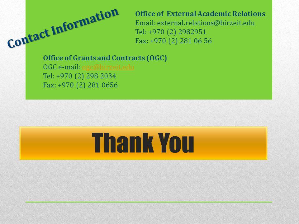 Office of External Academic Relations Email: external.relations@birzeit.edu Tel: +970 (2) 2982951 Fax: +970 (2) 281 06 56 Thank You Office of Grants a