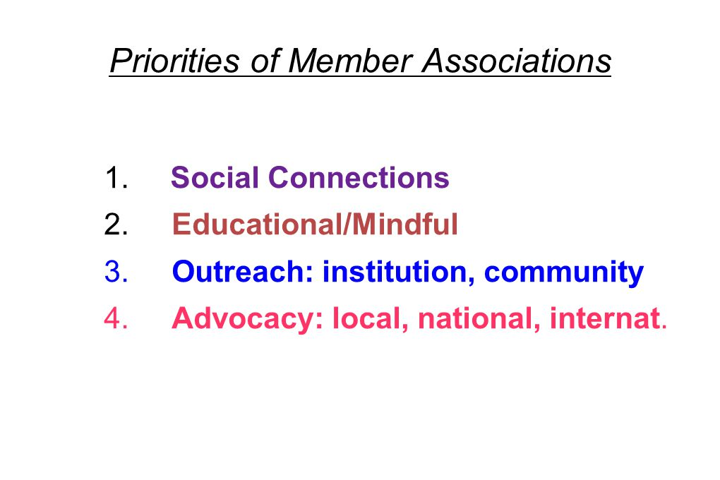 Priorities of Member Associations 1. Social Connections 2.Educational/Mindful 3. Outreach: institution, community 4. Advocacy: local, national, intern